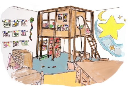 Das Bild zeigt den Aktivitäten- und Spielraum des Kinderladens Garuda e.V. in Berlin-Pankow: Hier wird gebastelt, gemalt, gebaut, gegessen, gespielt.