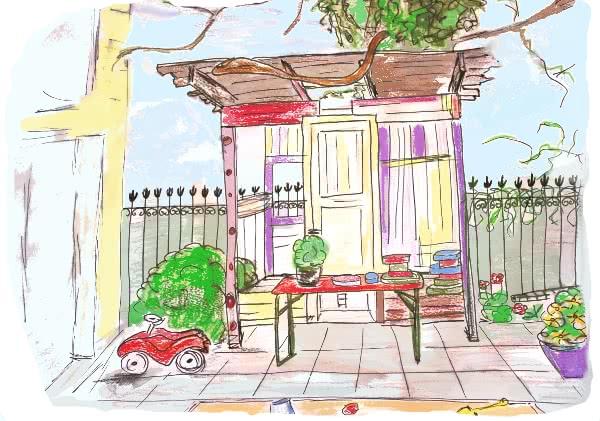 Das Gartenhaus des Kinderladens Garuda e.V. in Berlin-Pankow lädt zum Spielen ein: Es steht im Vorgarten unseres Kinderladens. Wir haben dort auch einen Buddelkasten, einige Beete und Spielflächen.
