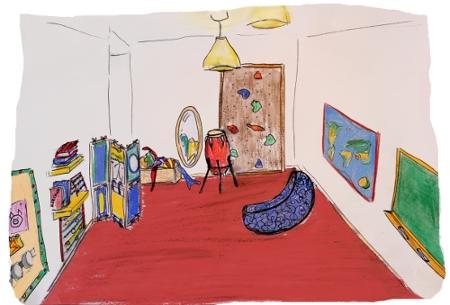 Das Bild zeigt unseren Toberaum mit Kletterwand, Schaukelbanane und Trommeln. Mittags geht es hier ruhiger zu, dann wird der Raum zum Schlafraum umfunktioniert.