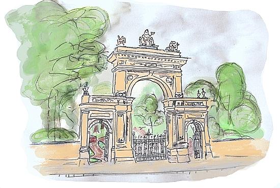 Das schöne Tor des Berliner Bürgerparks: Da unser Kinderladen unmittelbar bei diesem wunderschönen Pankower Park liegt, kennen wir hier jeden Busch und jede Ziege im Park-Ziegengehege sozusagen persönlich!